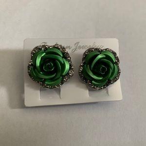 Green Rose Earrings